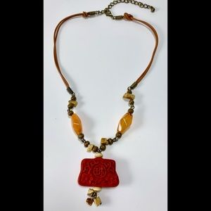 Jewelry - Asian Carved Cinnabar Necklace